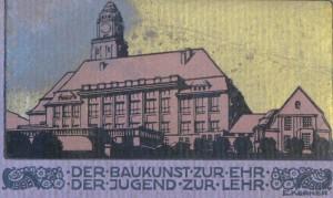"""Titelbild der """"Festschrift zur Einweihungsfeier der Königl. Baugewerkschule Essen - Ruhr 16. Nov. 1911"""""""